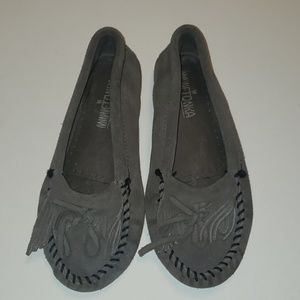 Grey Minnetonka Moccasin